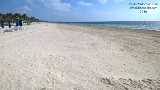 Our beach, looking north from the end of our street at Casa de los Viajeros